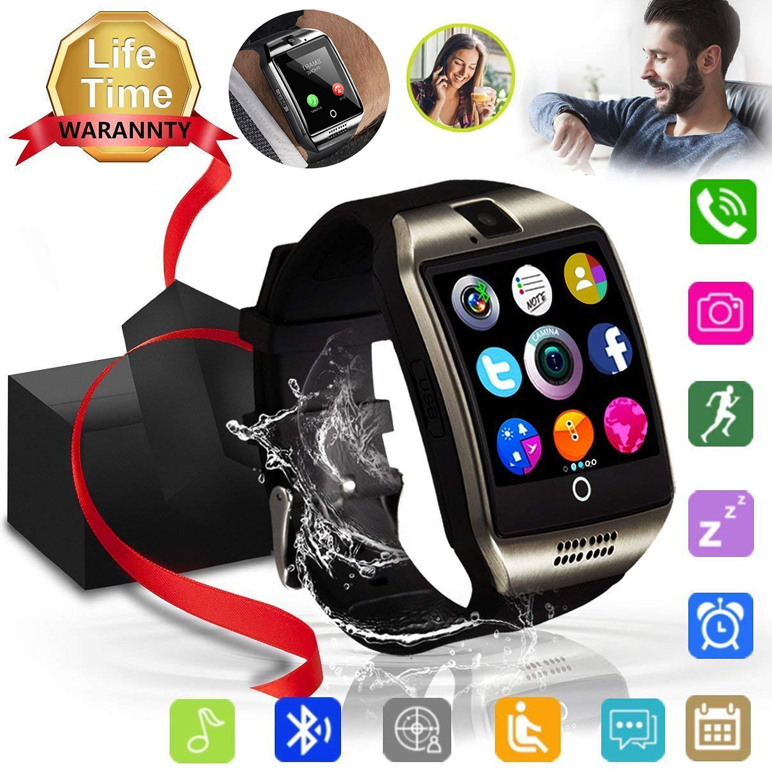Bluetooth Smart Watch, XIAOGAJI Touch Screen Sport Wrist Watch Smartwatch Phone Fitness Tracker with Camera Pedometer SIM TF Card Slot for iPhone iOS Samsung Android for Men Women Kids, Silver