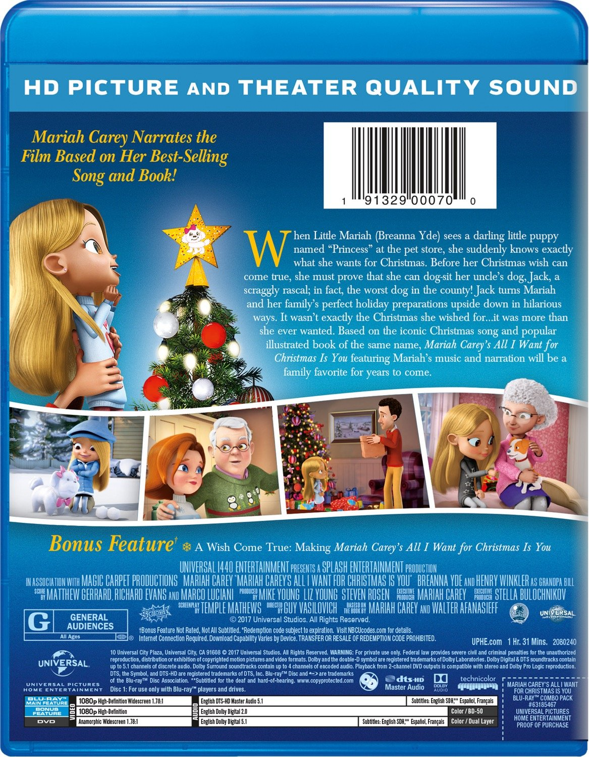 amazoncom mariah careys all i want for christmas is you blu ray breanna yde henry winkler mariah carey guy vasilovich mike young liz young - Best Selling Christmas Song