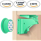 BabyPro - Magnetic Child Safety Locks (6 Locks + 2 Keys) + BONUS: 2 FREE Strap Lock - No Tools Install in Seconds - 3M Grade Adhesive (Optional Screws Included)