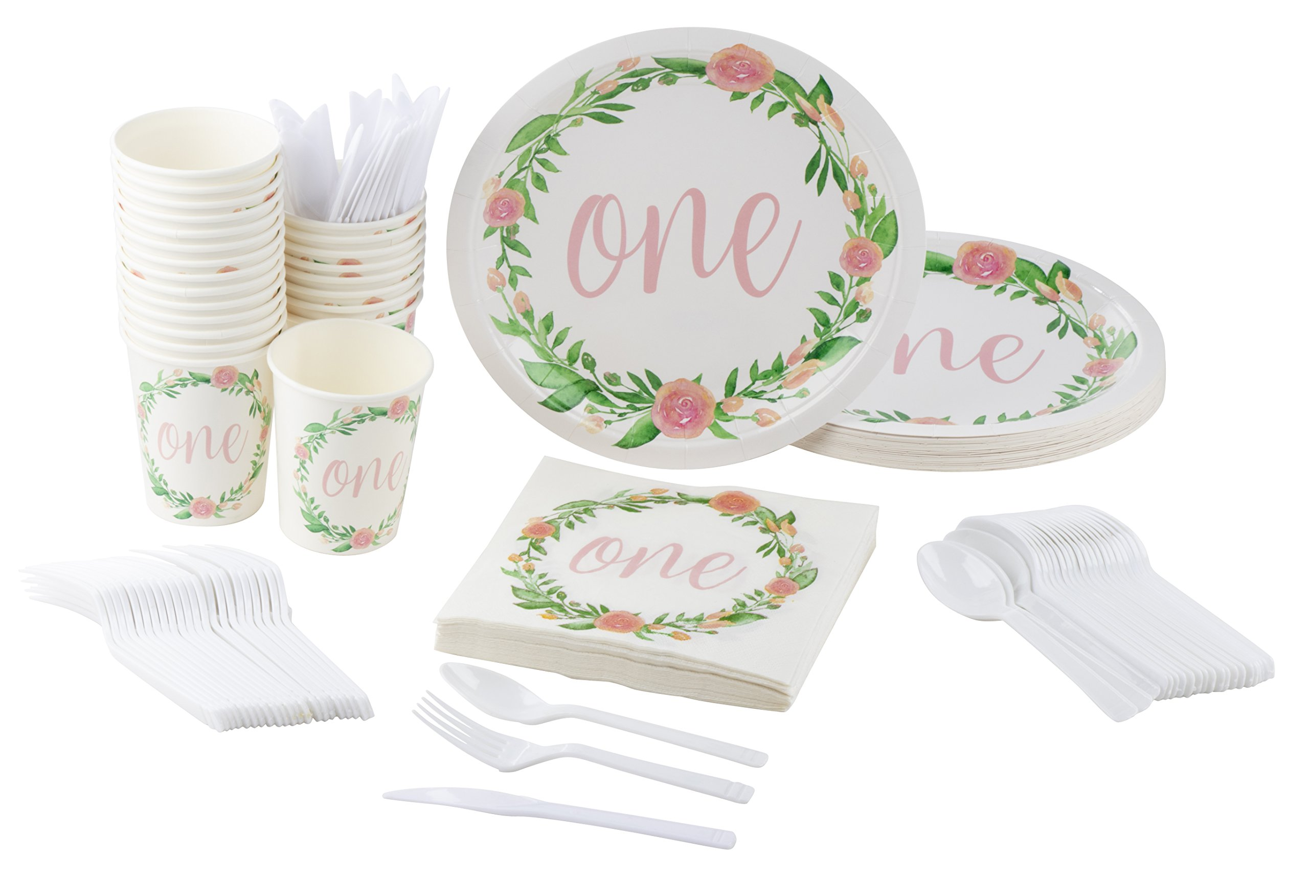 Disposable Dinnerware Set - Serves 24-1st Birthday Party Supplies for Kids Birthdays, Floral Design - Includes Plastic Knives, Spoons, Forks, Paper Plates, Napkins, Cups
