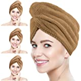 Suntee 3 Pack Microfiber Hair Towel Wrap, Super Absorbent Hair Drying Turban Towel, Quick Drying Hair with Button, Bath Caps