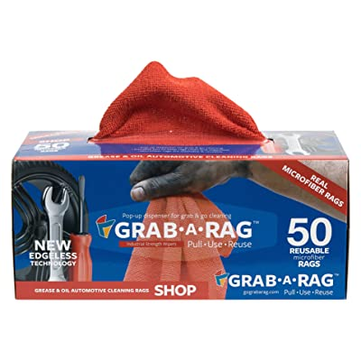 Grab a Rag R-004011 Red 12x12 Microfiber Shop Towel 50pk, 50 Pack: Automotive