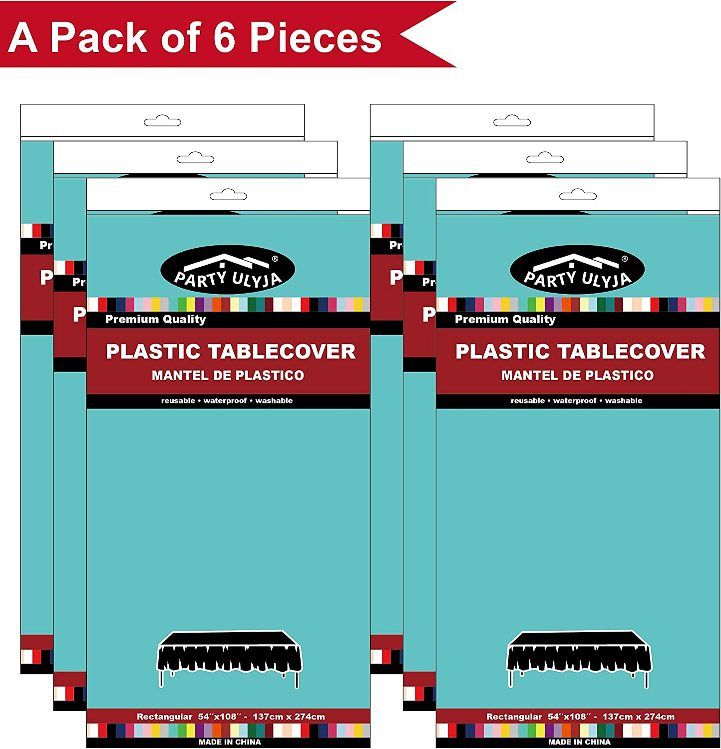 Peva Material Aqua Plastic Tablecloths Disposable Table Covers 6 Pack Premium 54 X 108 Inches Table How to convert feet to inches? tots classroom