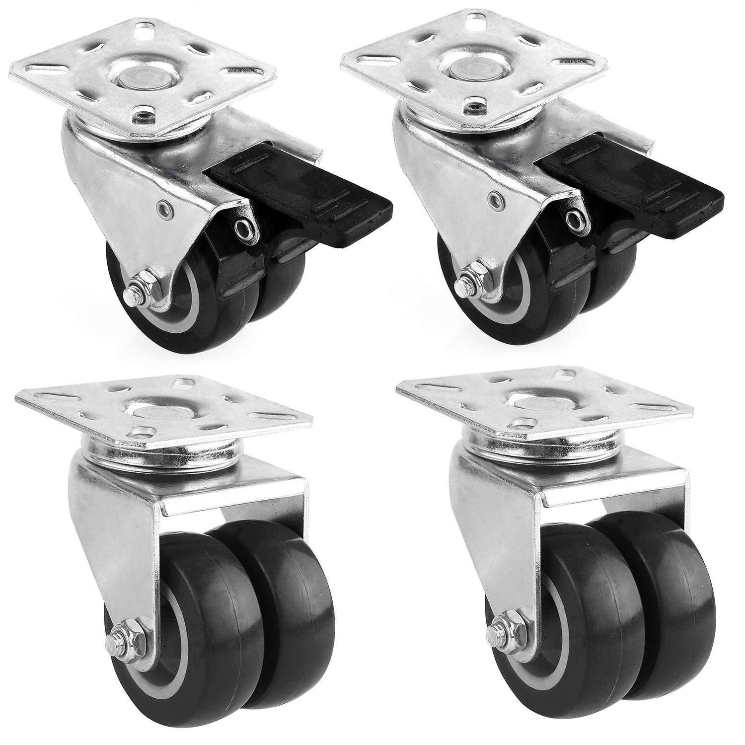 "FEMOR 4 Pack 2"" Swivel Caster Wheels, Heavy Duty Twin Wheels with 360 Degree Top Plate, Replacement Wheels for Carts, Furniture, Dolly, Workbench, Trolley by femor"