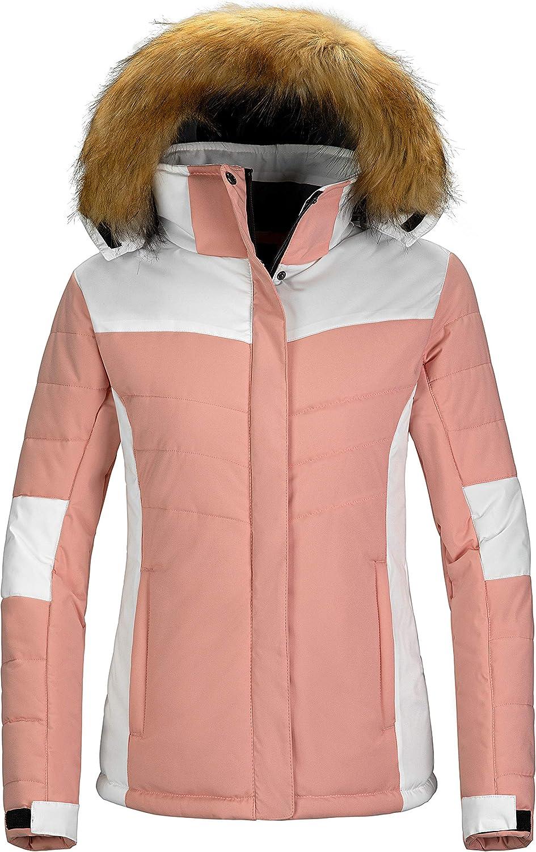 Wantdo Womens Waterproof Ski Jacket Hooded Snow Coat Mountain Fleece Winter Parka Snowboarding Jackets