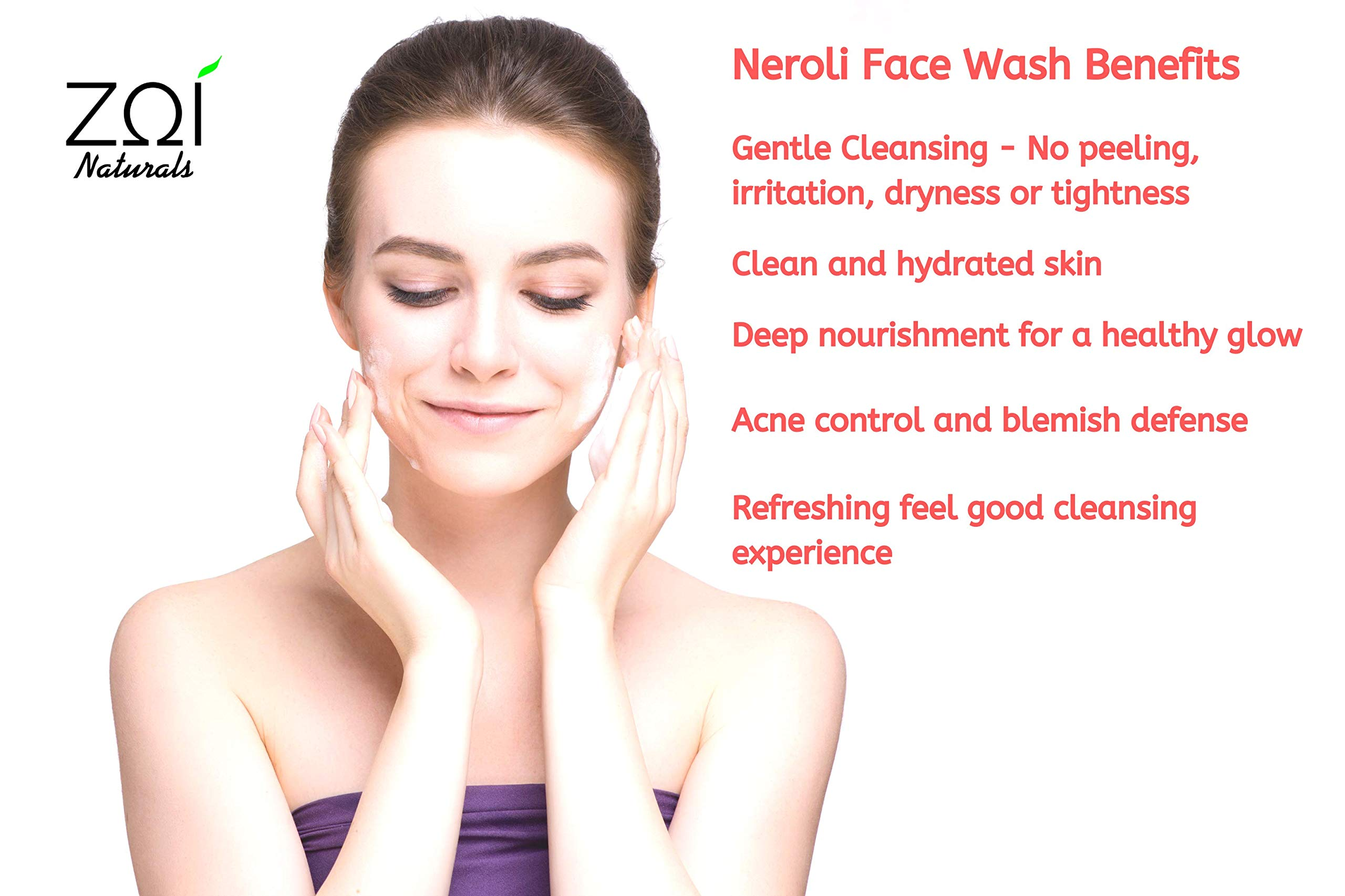 Natural Face Wash - Facial Cleanser with Neroli, Cleanses pores for Normal, Dry, Oily and Sensitive skin types, Non Drying, Face Wash for Women, Mens Face Wash, Acne Face Wash, Daily Use