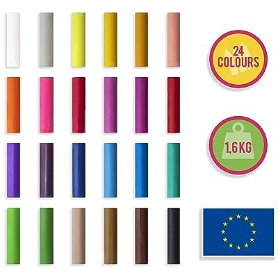 Creative Deco Plastilina para Niños | 24 Colores | 1600g | Nunca se Seca Educativo y Creative | Seguro y No Tóxico: Hogar