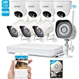 Zmodo 1080p HD Digital NVR System 8 Channel Wireless 1.0 Megapixel 4 Outdoor Camera 4 Indoor Camera 500GB Hard Drive Pre-installed Night Vision Motion Detection DIY Kit
