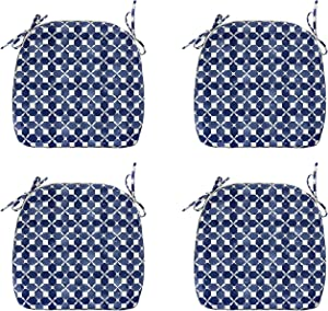 FBTS Prime Outdoor Chair Cushions Set of 4 18x19 Inch Patio Seat Cushions Blue Geometric Square Chair Pads for Outdoor Patio Furniture Garden Home Office