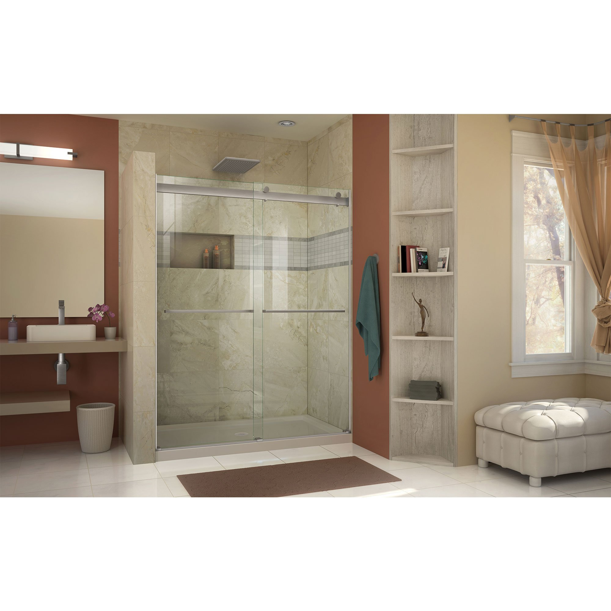 DreamLine SHDR-6360760-04  Essence 56 to 60 in. Frameless Bypass Shower Door in Brushed Nickel Finish by DreamLine (Image #7)