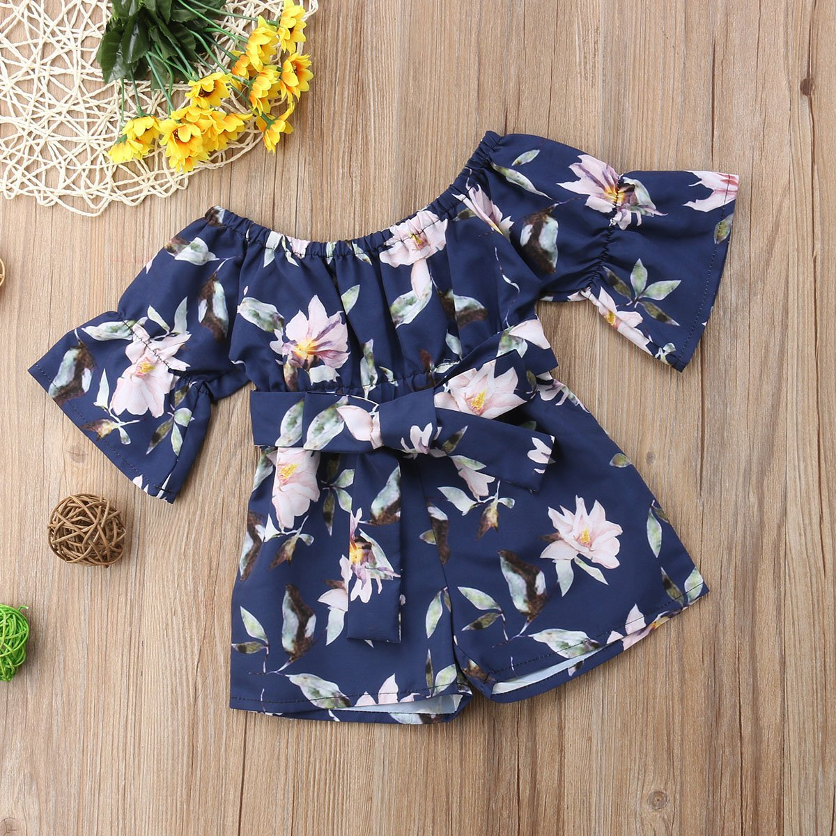 c3cd14a0056e Amazon.com  Toddler Baby Girls Floral Romper Playsuit Kids Bandage Off  Shoulder Jumpsuits  Clothing