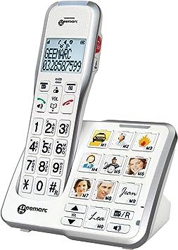 Geemarc Schnurloses teléfono para personas mayores AMPLIDECT 595 PHOTO contestador automático (voz/versión alemana), Foto-Tasten Beleuchtetes D: Amazon.es: Electrónica