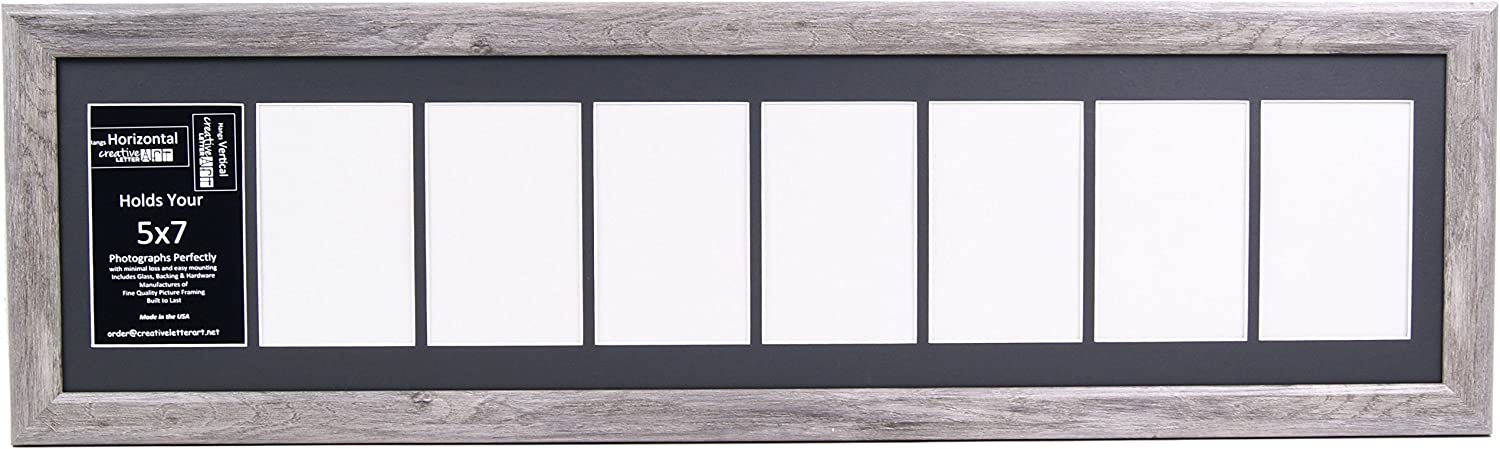 9 Opening 4x6 Glass Face Driftwood Picture Frame W// 10x40 White Mat Collage
