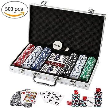 Kids Mandi Heavy Duty 11.5 Gram Clay Poker Chips Set with Aluminium Case for Blackjack Gambling, Set of 300 Chips (Multi Color)