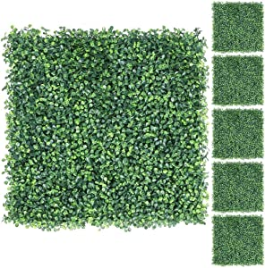 YAHEETECH 6Pcs 20 x 20 inch Artificial Boxwood Panels Topiary Hedge Plant UV Protected Privacy Hedge Screen for Garden,Home,Fence,Backyard and Decorations Green