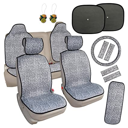 Leader Accessories Yeezy Quick Install Car Seat Covers Cushion 17pcs Combo Pack Black White For