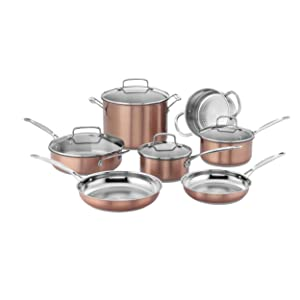 Cuisinart CSS-11BU Chef's Classic Stainless Cookware Set Medium Copper