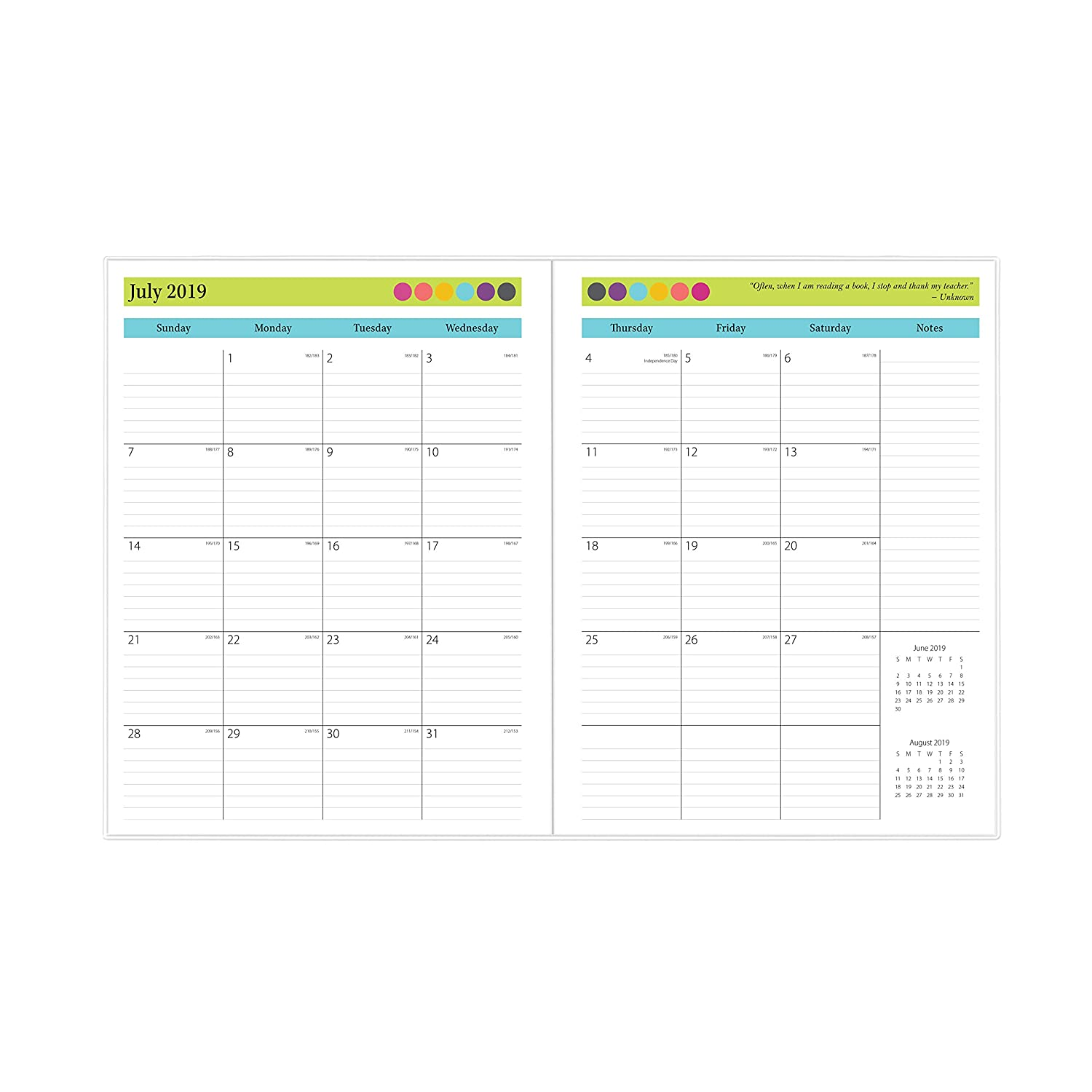 Blue Sky 2019-2020 Academic Year Teachers Monthly Lesson Planner, Stapled, Flexible Cover 8.5