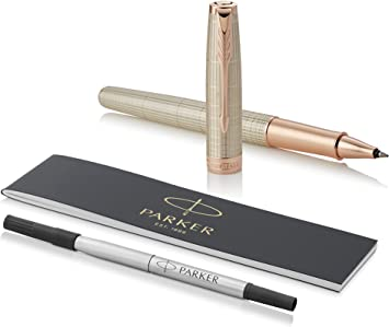 18t Rose Gold Plated Parker Flighter Ball Point Writing Pen Gift Boxed Ink