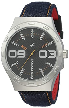 32663d799 Image Unavailable. Image not available for. Colour  Fastrack Denim Analog  Black Dial Men s Watch-3183SL02