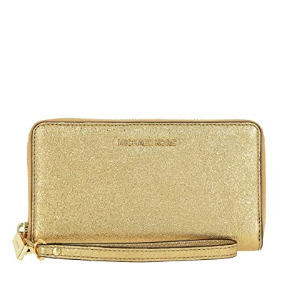 8acd703401228 Amazon.com  Michael Kors Jet Set Travel Large Metallic Leather Smartphone  Wristlet in Gold  Shoes