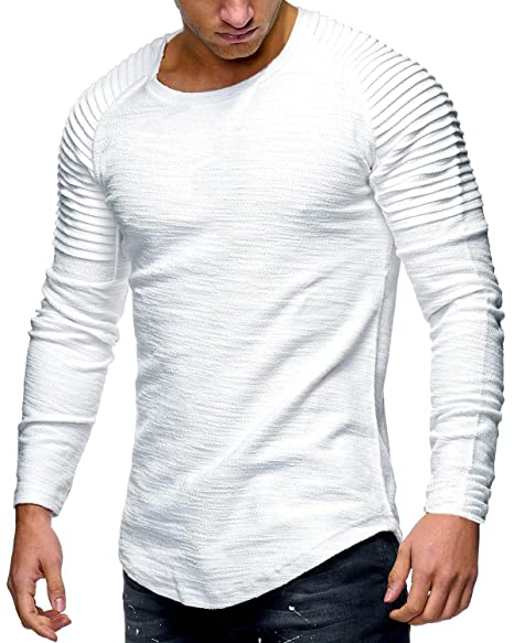 f9561e53bd8 Amazon.com  Tutorutor Mens Long Sleeve Hipster T Shirts Slim Fit Muscle  Ruched Pullover Hip Hop Basic Tees  Clothing
