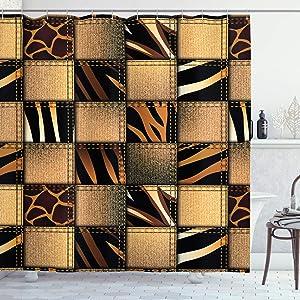 Ambesonne Safari Shower Curtain, Jeans Denim Patchwork in Safari Style Wilderness Design Art Print, Cloth Fabric Bathroom Decor Set with Hooks, 84