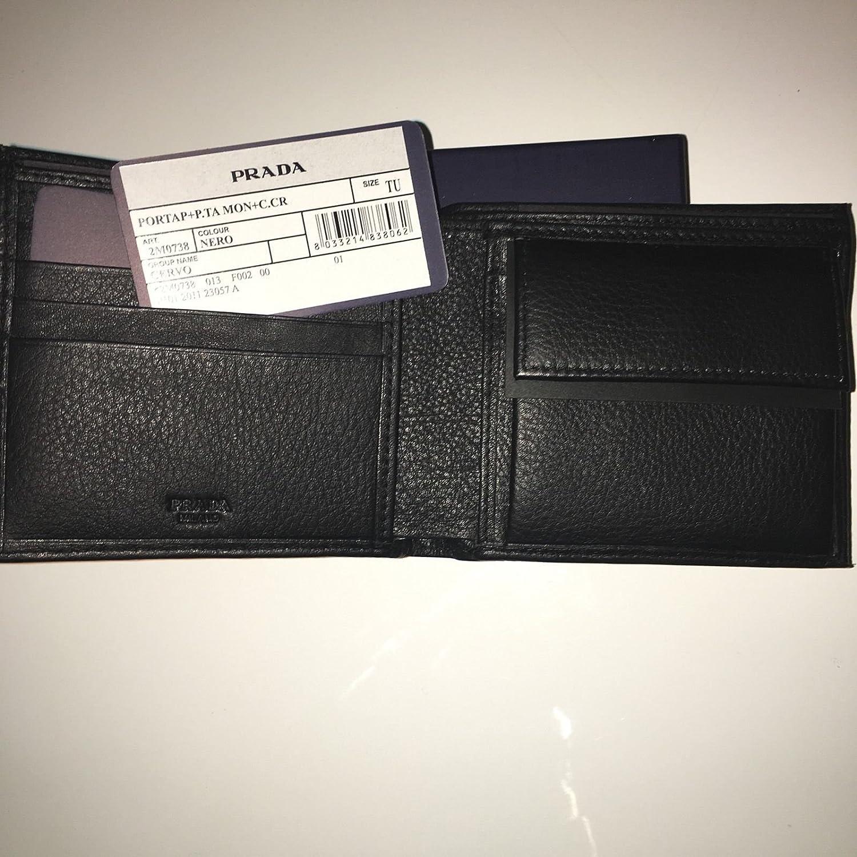 cee9d6cd32070 Prada Herren Geldbörse Schwarz Geldbeutel Leder  Amazon.de  Bekleidung