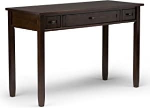 Simpli Home AXWSH010-TB Warm Shaker Solid Wood Rustic 48 inch Wide Writing Office Desk in Tobacco Brown