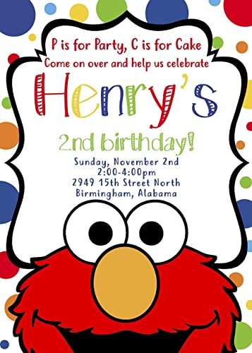 Amazon Sesame Streets Elmo Inspired Invitation Handmade