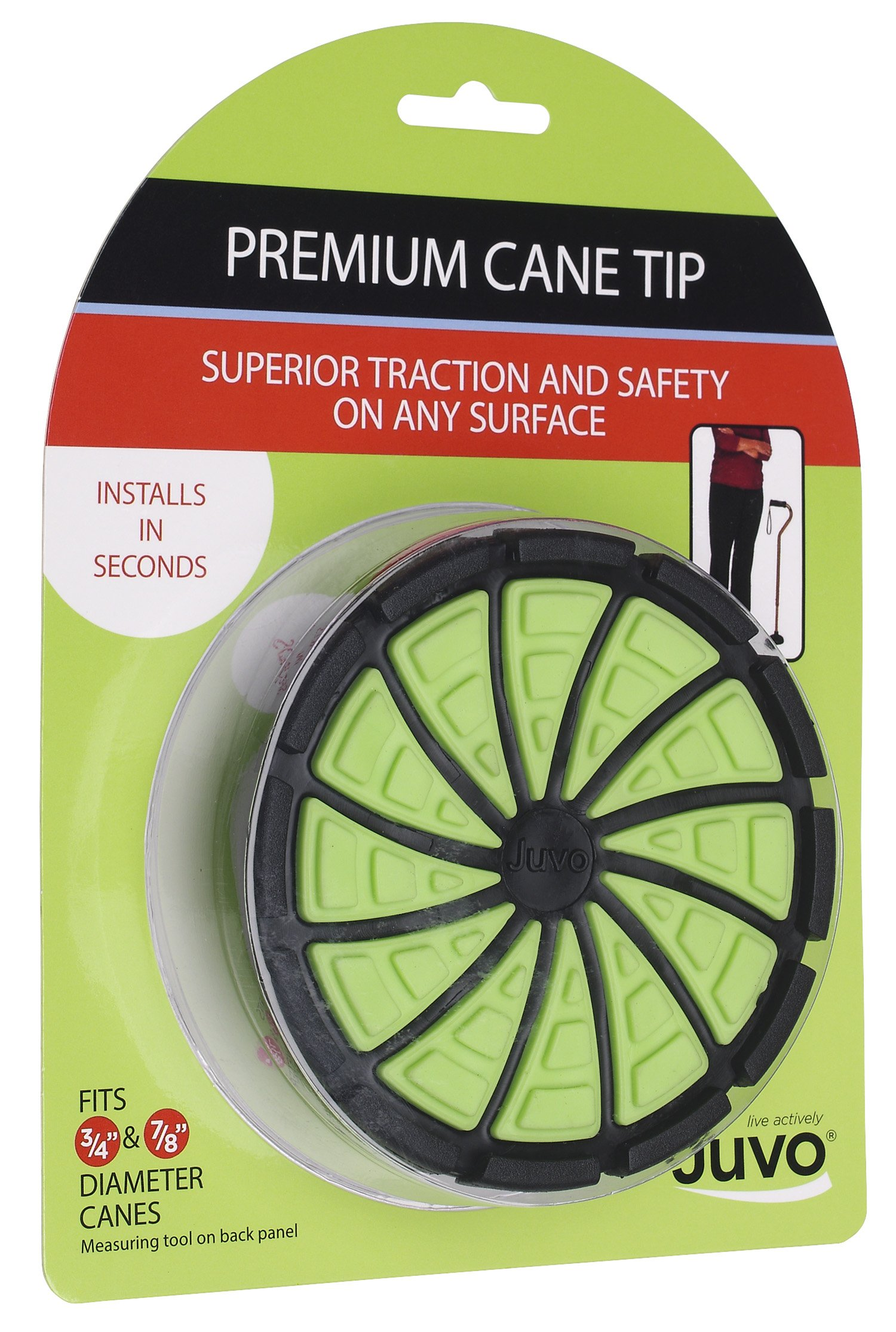 "Juvo Products Premium Cane Tip with Extra Wide Base, Fits 3/4"" or 7/8"" Diameter Canes, Green/Black (SCT01)"