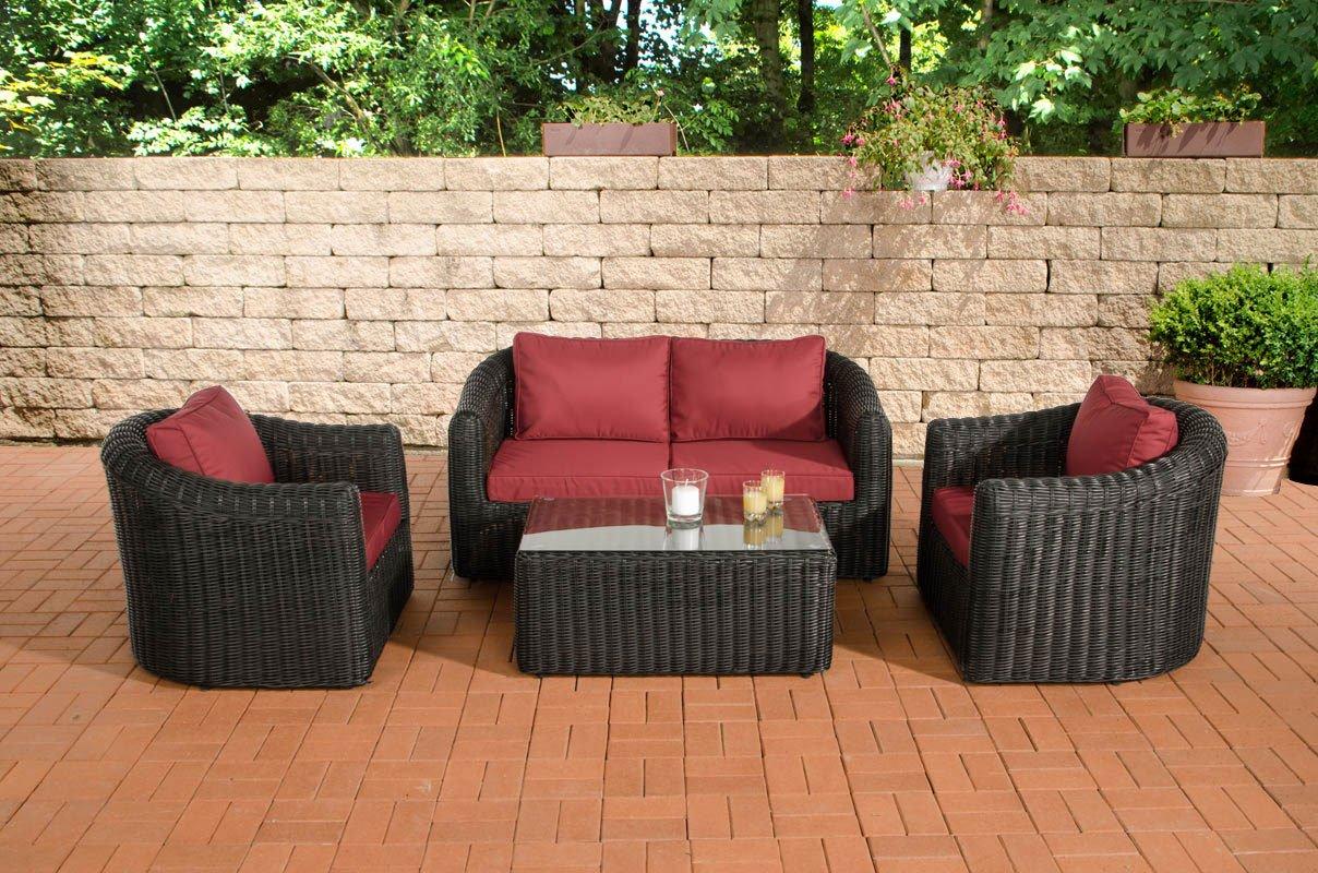 CLP Gartengarnitur BERGEN schwarz aus Polyrattan & Aluminium (4 Sitzplätze: 2-1-1) Premiumqualität (5 mm Rundrattan) inkl. Polstern & Kissen schwarz, Bezugfarbe rubinrot