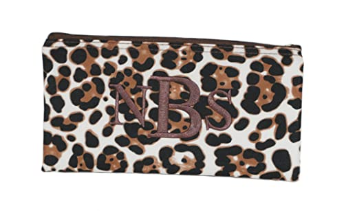 86638a3fc788 Personalized Leopard Print Women s Monogrammed Travel Cosmetic Makeup Pouch