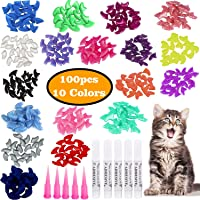 VICTHY 100pcs Cat Nail Caps, Colorful Pet Cat Soft Claws Nail Covers for Cat Claws with Glue and Applicators, 10 Colors…