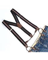 Enwis Suspenders Braces Polyester Elastic Adjustable Button Holes Stripe Black Red Beige
