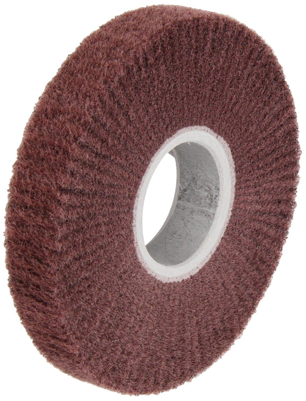 Scotch-Brite Finishing Flap Brush, Aluminum Oxide, 3400 rpm, 6'' Diameter x 1'' Width, Medium Grit  (Pack of 3)