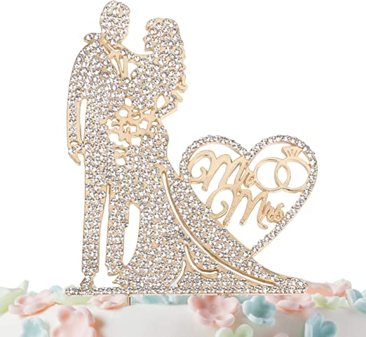 10x Glitter Kissing Couple Love Cake Topper Wedding Engagement Decor Gold//Silver