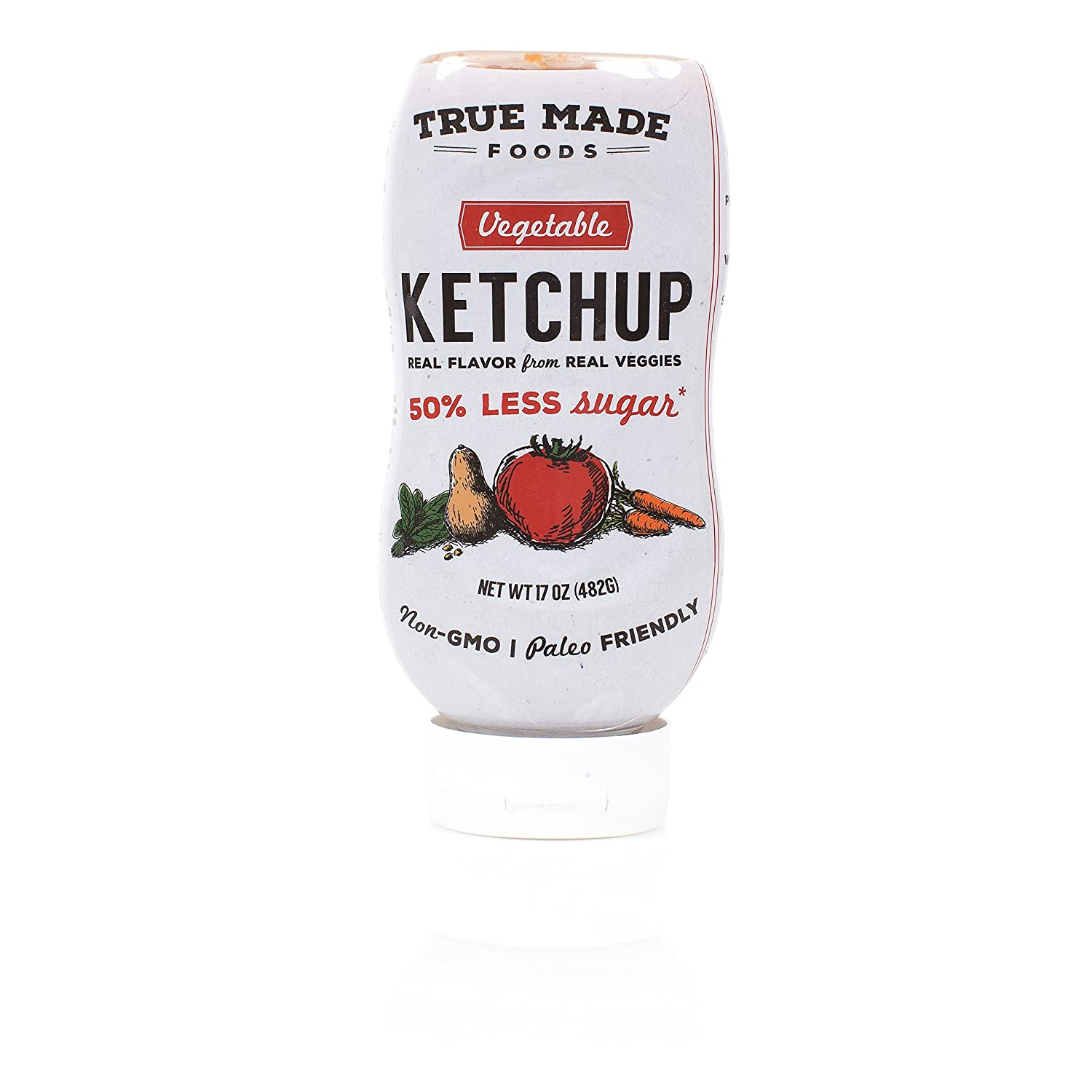True Made Foods Vegetable Ketchup, Paleo Friendly, Non-GMO, Low Sugar, 17oz Squeeze Bottle, Pack of 6