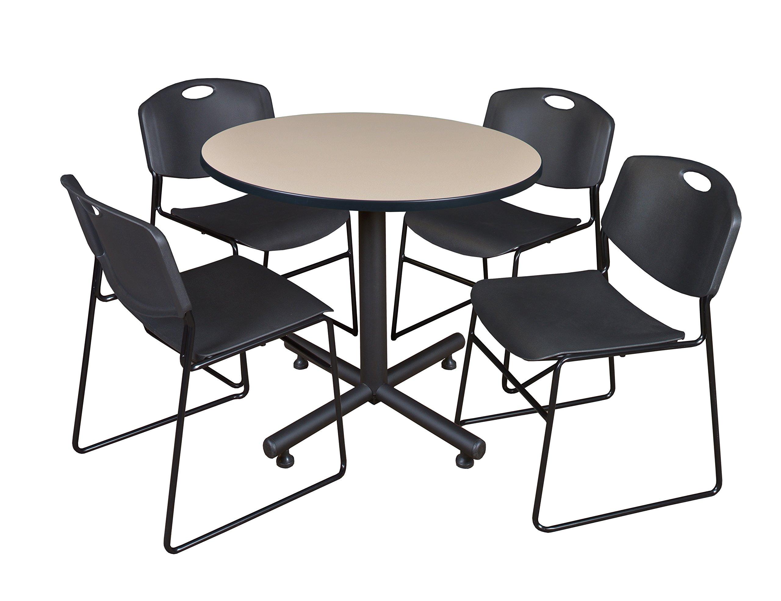 Regency Kobe 42-Inch Round Breakroom Table, Beige, and 4 Zeng Stack Chairs, Black