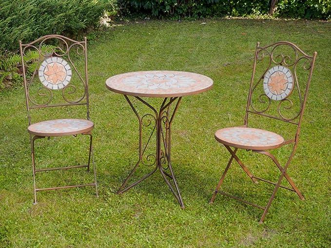 aubaho Garnitur Gartentisch 2 St/ühle Eisen Fliesen Mosaik Garten Tisch Stuhl antik Stil