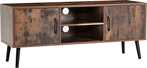 XPELKYS Retro TV Stand TV Console Storage Cabinet, Mid-Century Modern Entertainment Center for Flat Screen TV, Cable Box,Gaming Consoles, in Living Room,Entertainment Room,Office,Brown