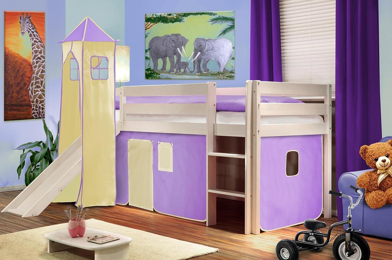 SixBros. Cama alta cama de juego con torre y tobogán pino maciza blanco - lila/beige - SHB/09/1032