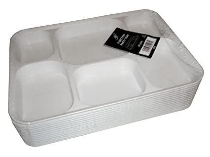 1000 blanco plástico desechables compartimento 6 bandejas