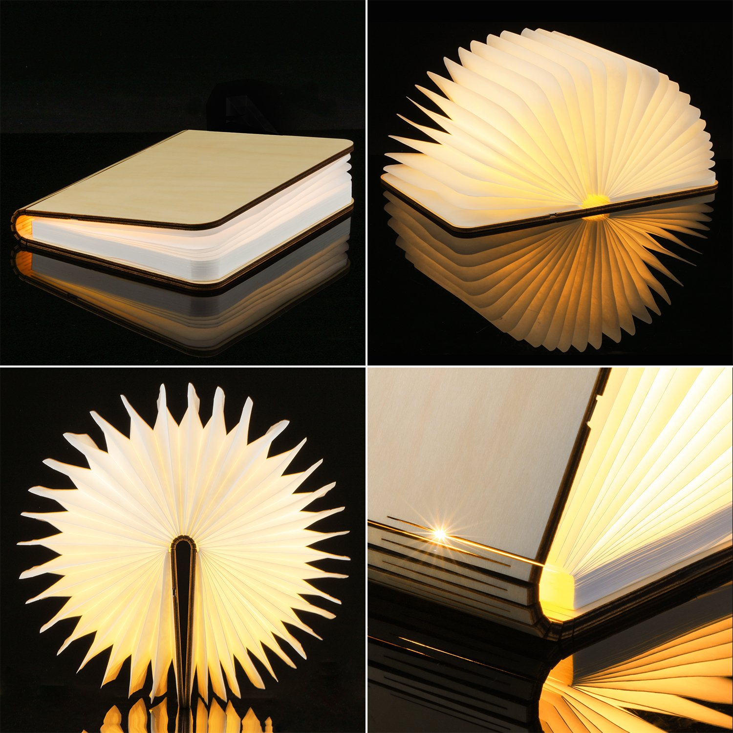 wooden folding book light magicfly usb rechargable book shaped