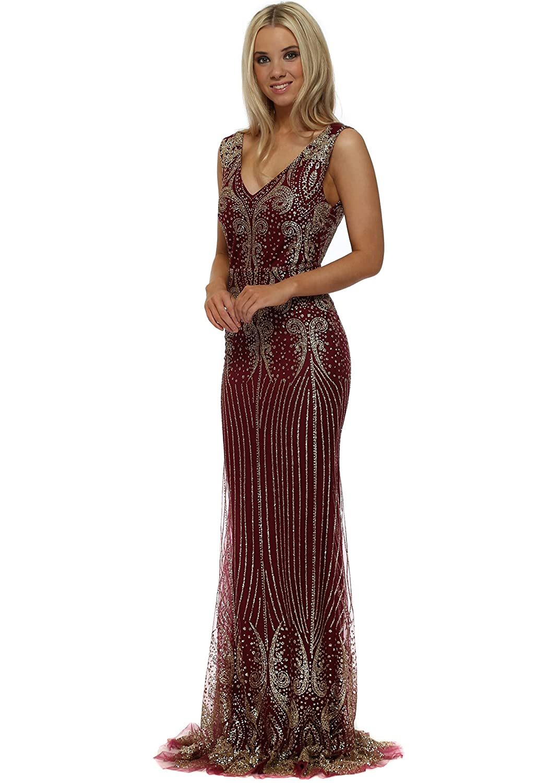 321da486 Lucy Wang Burgundy & Gold Glitter Sequins Fishtail Evening Dress X Large  Burgundy: Amazon.co.uk: Clothing