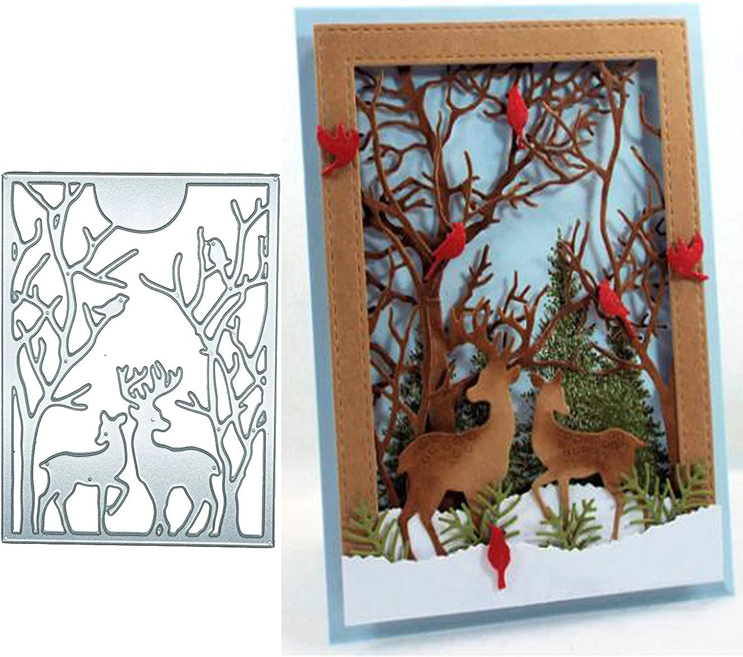 5.9 by 7.1 Inches Christmas Deer Metal Cutting Dies Craft Die Cuts for Card Making and Scrapbooking