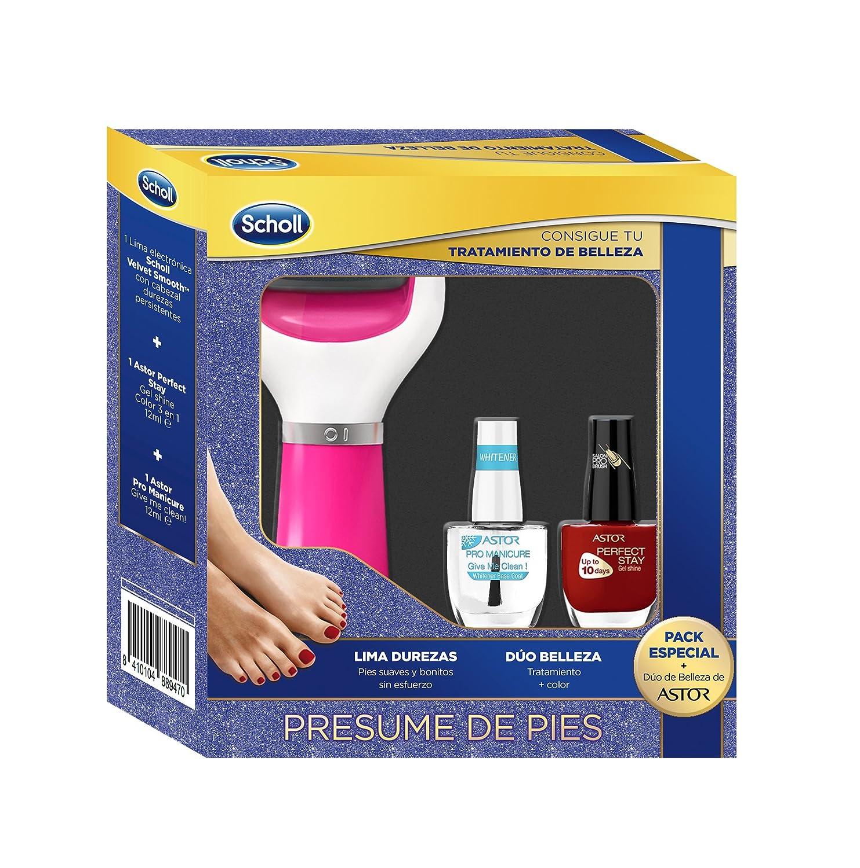 Scholl Lima Electrónica de Pies Rosa y 2 Pintauñas de Color Rojo y Transparente - Pack Regalo Reckitt Benckiser 3054428