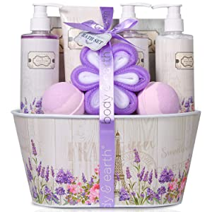 Spa Gift Baskets for Women - Home Spa Kit, Rosewater and Lavender 10 Pcs Birthday gifts Set, Includes Bubble Bath,Shower Gel, Bath Bombs, Body Lotion, Hand Cream, Bath Salts and More,Gift Set for Her
