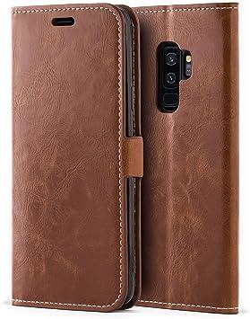 Mulbess Funda Samsung Galaxy S9 Plus [Libro Caso Cubierta] [Bookstyle de Billetera Cuero] con Tapa Magnética Carcasa para Samsung Galaxy S9 Plus / S9+ Case, Marrón: Amazon.es: Electrónica