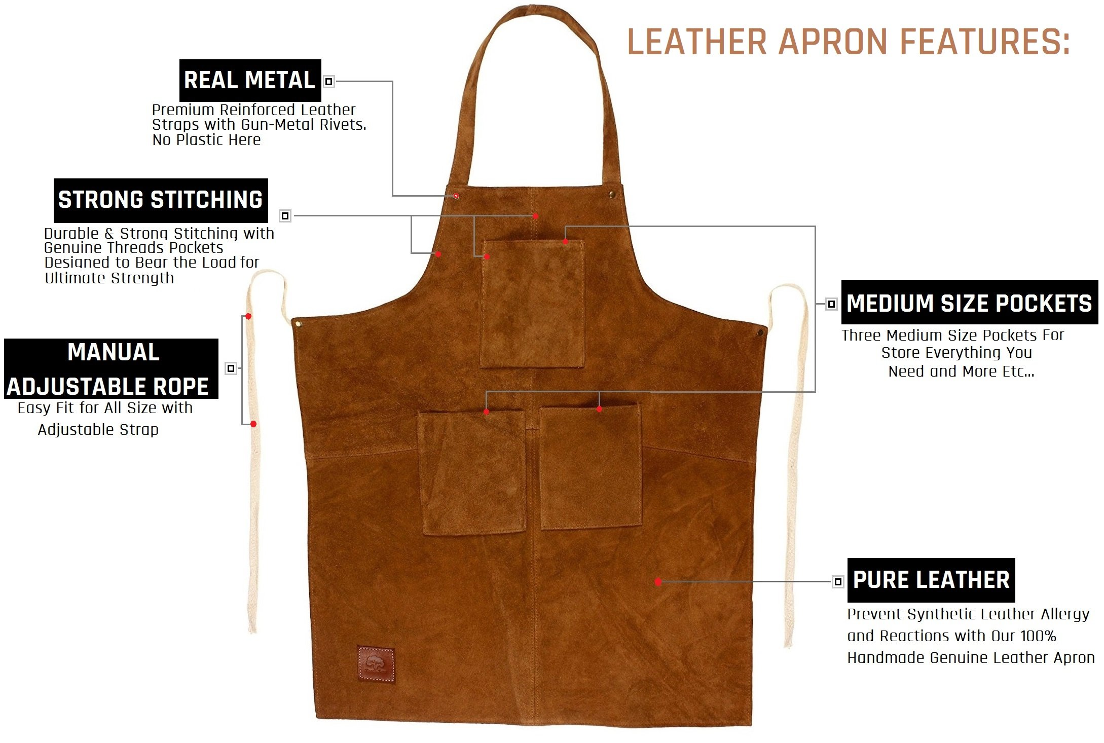 Rustic Town Genuine Leather Grill Work Apron with Tool Pockets ~ Adjustable up to XXL for Men & Women ~ Gift Ideas for Him Her (Tan)